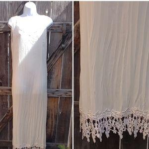Broomstick Crinkle Slip Prairie 80s Dress Lace O/S